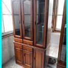 0003★ガラス戸付き食器棚 カップボード/キッチンボード 収納棚...