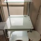 新生活に☆ PCデスク 勉強机 ガラステーブル