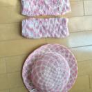 ピンクの麦わら帽子 + 脚カバー