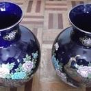 九谷焼■[瑠璃金彩花鳥文]孔雀★花瓶二点セット◆瑠璃色◎明陶窯