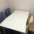 変形デザイン ダイニングテーブル、椅子セット
