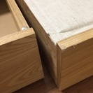 無印良品 ベッドフレームのみ タモ材 セミダブル 収納付き - 家具