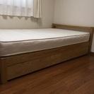 無印良品 ベッドフレームのみ タモ材 セミダブル 収納付き − 北海道