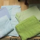 肌掛け布団・綿毛布・タオルケット ブルー&グリーン シングル 3種...