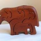 子供には無漂白の天然木で遊ばせたい 木のおもちゃ 象のパズル♪(...