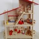 ドールハウス 木製 3階建て 家具人形付き PLANTOYS(プ...