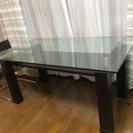 ガラスダイニングテーブル&レザーチェア×4&キズ防止ビニール
