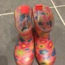 子ども女の子長靴ピンク花柄13cm