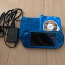 (交渉済)PSP3000本体ブルー☆美品☆ソフト1本付