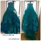 エメラルドグリーンのカラードレス ウェディングドレス結婚式披露宴...