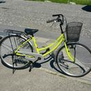 ママチャリ《黄緑/シルバー》    26インチ自転車 ■ラ…