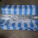 小川テントで購入 自立型サイドシート 白ブルーのツートン