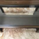 ガラス板テーブル(サイドにブックスタンド付)