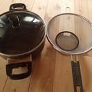 直径20、深さ12cm 両手鍋とザルのセット