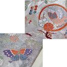 着物 の 帯 袋帯 蝶 ちょう 菊 菖蒲 あやめ 扇 シルバー - 服/ファッション