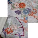 着物 の 帯 袋帯 蝶 ちょう 菊 菖蒲 あやめ 扇 シルバー − 岐阜県