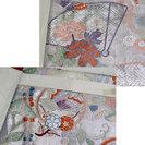 着物 の 帯 袋帯 蝶 ちょう 菊 菖蒲 あやめ 扇 シルバー - 売ります・あげます