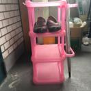 値下げしました、ピンクのシューズラック傘立て付き