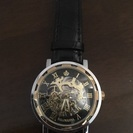 手巻き両面スケルトン腕時計