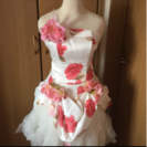 お値下げ 新品花付きミニウエディングドレス