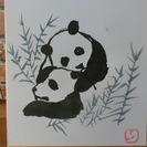 <手描き墨絵>子パンダの兄弟
