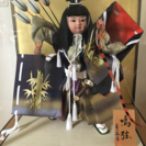 美品 中古 日本人形 鳴弦 ガラスケース入り 五月人形