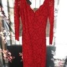 美品!総レースの赤いドレス&深緑のドレス(Lサイズ)2着セット。