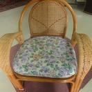 2c29 籐椅子 花柄 引取限定 中古