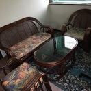 ♪籐の椅子&ガラステーブル 4点セット♪