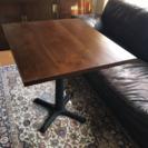 チーク無垢材テーブルアイアン脚