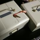 オフィス用品・スチール印箱(シャチハタ製2個セット / 共通鍵つき)