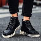 ブーツ メンズ ショートブーツ 黒 革靴 防滑 ハイカット スニ...