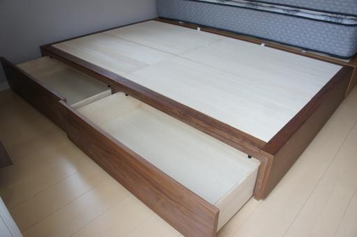 無印良品□収納セミダブルサイズ ウォールナット材 ベッドフレーム - 狛江市
