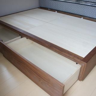 ■無印良品■収納セミダブルサイズ ウォールナット材 ベッドフレーム - 狛江市