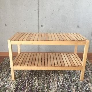 IKEAの木製ベンチ/カフェテーブル