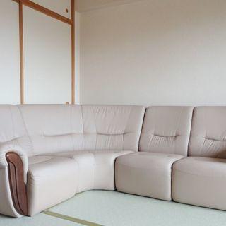 4~5人掛けコーナーソファ ベージュ【中古】4点セット 配置自由 ...