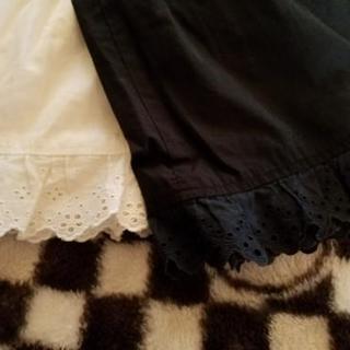 お話し中です♪手持ちのスカートをちょっと可愛くしよ⤴ペチコート裾レース🎵白&黒 - 服/ファッション