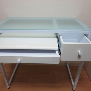 組み立て式 ガラス天板 パソコンデスク 学習机 ホワイト