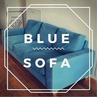 湘南、横浜付近は+5000円で配送できますビンテージ blueソファー