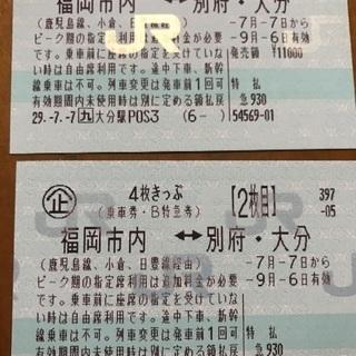 福岡市内⇔大分・別府JR2枚切符