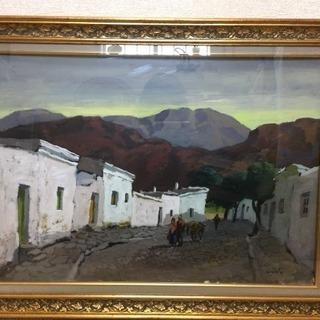 ◆『北国の風景』油絵 風景画 サイン有 額装◆