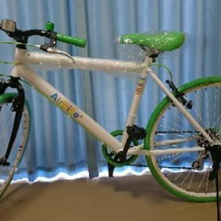 【新品未使用】クロスバイク 自転車 26インチ ホワイトグリーンカラー