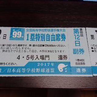 12日目 8/20甲子園 一塁特別自由席チケット
