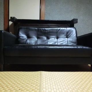 クラシックソファー/2人掛け・ブラック(合成皮革)