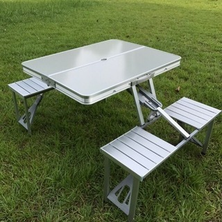 アウトドアテーブルベンチ一体型・収納式
