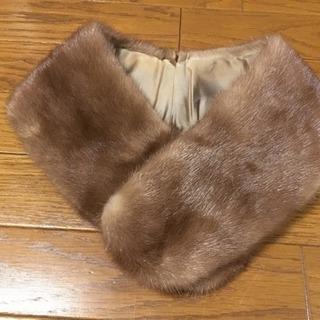 フォックス ファー 毛皮 襟巻き マフラー ブラウン
