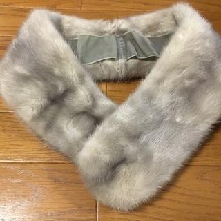 フォックス ファー 毛皮 襟巻き マフラー グレー