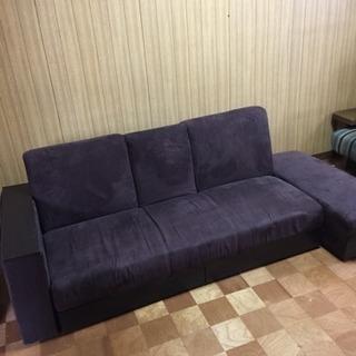 テーブル収納付き  こげ茶ソファーベッド