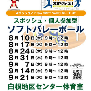 【個人参加ソフトバレー】9月14日(木)9時~12時 ※年齢・性別・経験等一切不問 - 横浜市