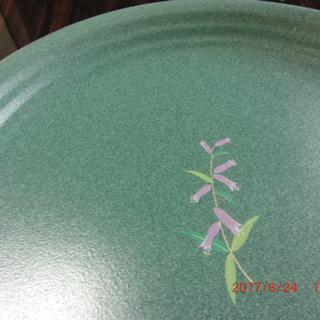 大皿+取り皿5枚のSet、金色ふちに花 [No.2]